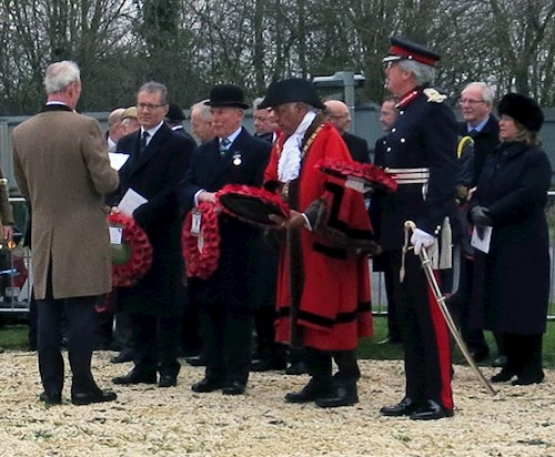The Lord-Lieutenant of Warwickshire, the Mayor of Rugby, the Chairman of the Gallipoli Association and the MP for Rugby (from right to left)