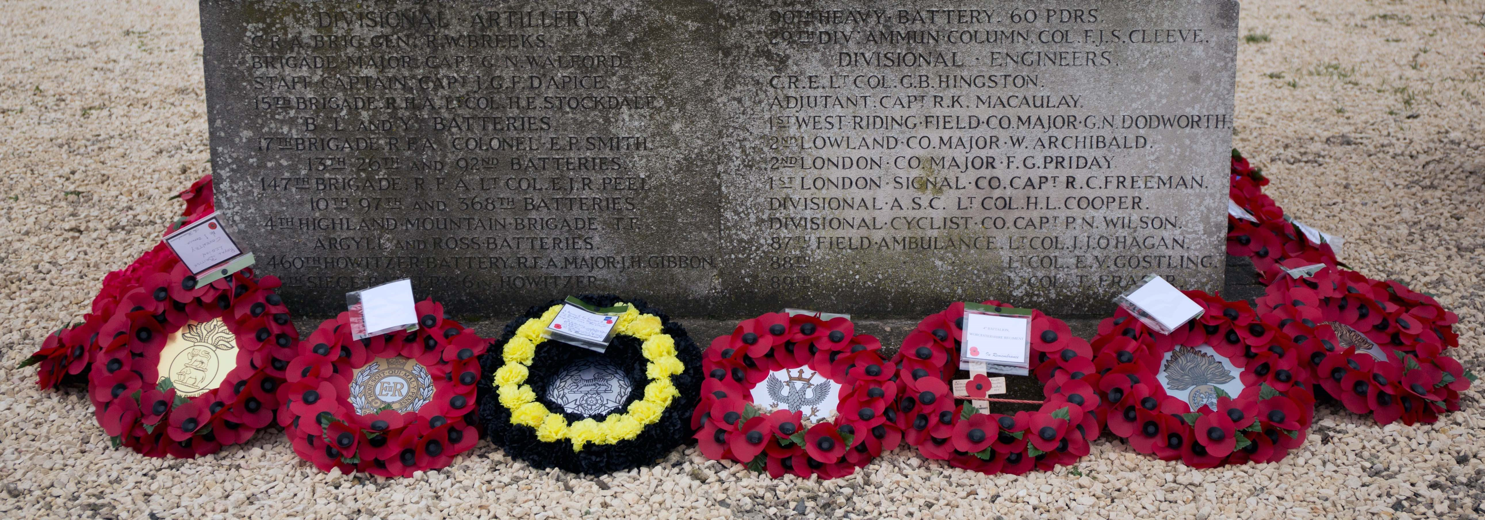A selection of the many wreaths laid around the Monument